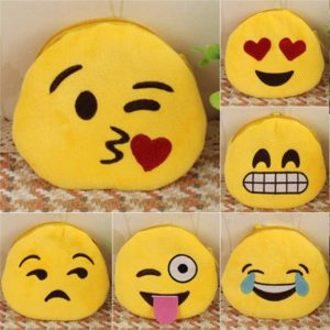 Coin Purse Soft Plush Söt 3D Emoji Expression bild Pouch Zipper Wallet Key Hold