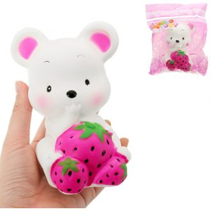 Mus Jordgubb Squishy 13 * 10 * 8cm långsammare med Packaging Collection Present Soft Toy