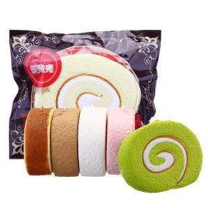 Cake Squishy Swiss Roll 7cm Slow Rising Jumbo Roliga Present Collection med förpackning