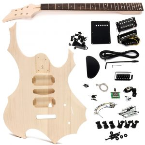 DIY Elgitarr Basswood Wood Body Oavslutat Kit Set med Halsband