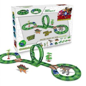 Dinosaur Slot Bil Race Spår Leksaker barns Bridge Batteri Toy Park Rollercoaster