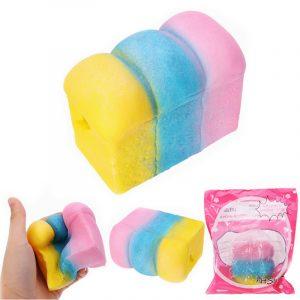 YunXin Squishy Rainbow Toast Loafbröd 10cm långsammare med Packaging Collection Present Decor Toy