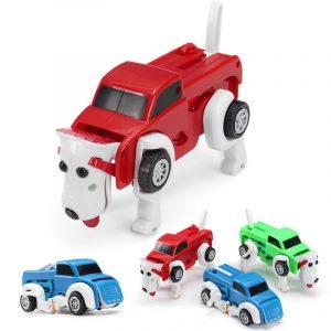 Automatisk Transformation Dog bil Vehicle Clockwork Winding Up För Barn Jul Deformation Present