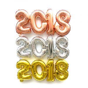 2018 Antal Folie Ballong Guld Silver Gott Nytt År Rum Party Decoration