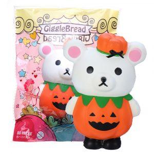 Gigglebröd Halloween Pumpkin Bear Squishy 13 * 9,5 * 6,5 cm Licensierad Slow Rising With Packaging