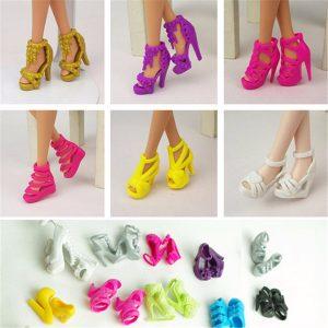 10 Par Fashion Dockas Heels Skor Sandaler För Barbie Docka Toy