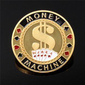 40 * 2,5 mm Metal Poker Guard bild Protector Mynt Chip Färg Guldpläterad Med Rund Plastfodral