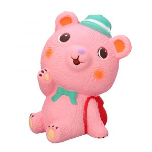 11,5 * 7 * 4,5cm Pink Schoolbag Bear Squishy långsammare med Packaging Collection Present Soft Toy