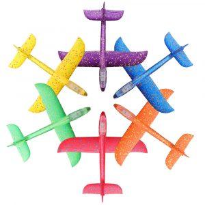 48cm Plane Toy Glider Shake Vibration Sensor LED Ljus Induktion Hand Kasta Flygplan Flygplan DIY Skum EPP