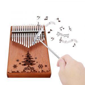 17 Keys Trä Kalimba Peachwood Thumb Piano Finger Percussion Tuning Hammer med julgranlogo