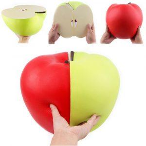 Stor Squishy Halv Grön Röd Äpple-langsam Stigande  Mjuk  Stressavlastare Leksaker