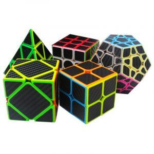 5st per låda bilbon Fiber Magic Cube Pyraminx Dodecahedron Axis Cube 2x2 och 3x3 Cube Speed Pussel