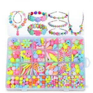 Pop-Arty DIY Pärlor Tjej Halsband Armband Smycken Set Med låda Snap-Tillsammans Pop Jigsaw Puzzle Toy Present