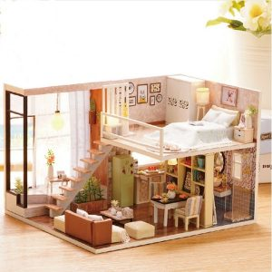 Cuteroom Dockhus Miniature DIY Dockhus med möbler Wooden House väntar Time Leksaker för barn