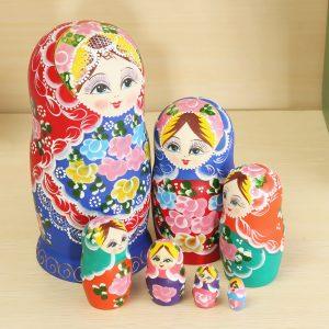 Matryoshka Set of 7 Nesting Dockas Madness Russian Wooden Dockas Toy
