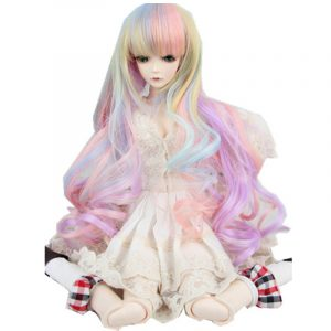Ny 8-9 '' 22-24cm 1/3 BJD SD Docka Wig Pink Ombre Long Curly Hair Cosplay Wig
