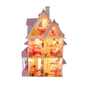 Stort trä barn Dockhus Barbie Kit Girls Spela Dockhus Mansion Furniture