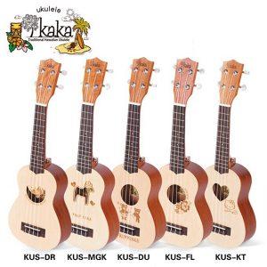 Kaka KUS-DR / MGK / DU / KT / FL 21-tums Mini Gran Gravyr Ukulele