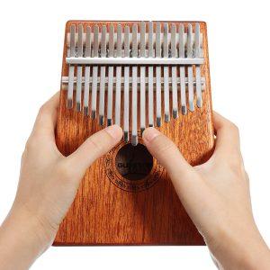 17 Keys Trä Kalimba Mahogany Thumb Piano Finger Percussion Med Tuning Hammer