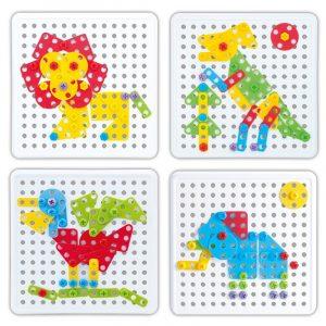 Djur hopsättning Modell  Pedagogiska barn Block DIY Leksaker
