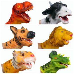 Dino Head Triceratops Dinosaurier Finger Dockaett Dockas Gummi Handskruva Toy For barns Pedagogiska Present