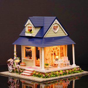 CuteRoom DIY Trä Dockhus Miniatyr Med Hus Möbler Toy Present För Barn Cykelvinkelsats