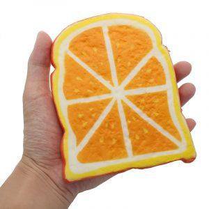 SquishyShop Orange Bröd Toast Skiva Squishy 14cm Mjuk Slow Rising Collection Present Decor Toy
