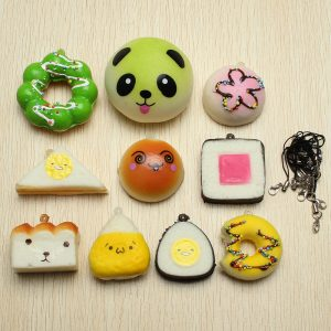 10st Random Squishy Soft Sushi / Panda / Bröd / Tårta / Bullar Telefonband