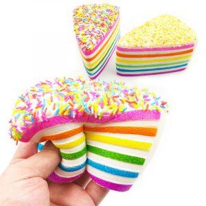 14x9x8cm Squishy Rainbow Cake Simulation Super Långsam Rising Fun Present Toy Decoration