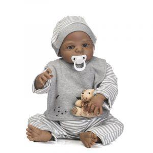 NPK 57CM Full Body Silikon Svart Boy Reborn baby docka Mjuk Bear Barn Bathe Playmate Leksaker