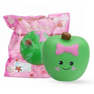 Gulligt uttryck Apple Squishy 10 * 11 * 7CM långsammare mjuk Leksakeruppsamling med förpackning