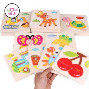 Umu trä 3d pussel leksak barn barn tecknad djur pussel gåva intelligens leksaker