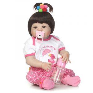 NPK 23 tums mjukt tyg Body Silicone Reborn Lifelike Baby Docka Girl Bebe Alive Julklapp
