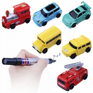 Jul Mini Automatisk Induktion Magic Truck bil Line Följande Med Pen Barn Barn Present Leksaker