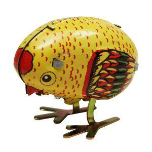 Wind Up Chick Tin Toy Clockwork Våren Pecking Chick Vintage Style