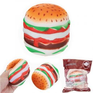YunXin Squishy Hamburger Burger 9cm Långsam Rising Med Förpackning Bröd Samling Present Decor Toy