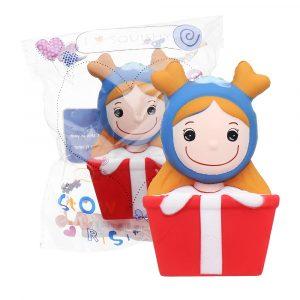 Christmas Elk Girl Squishy 14 * 7cm långsammare mjuka leksaks presentsamling med förpackning