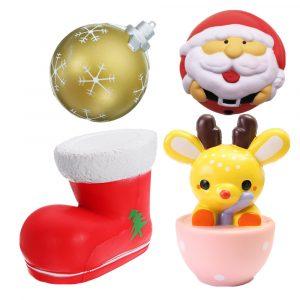 4st Julklapp Squishy Teacup Hjort 14cm Santa Claus 7cm Snow Boot 11cm Gold Ball 9cm