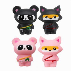 14cm Gullig Jumbo Squishy Ninja Cat Fox Panda Scented Super Långsam Rising barns Toy Present