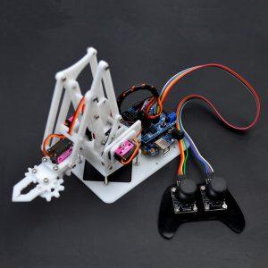 SNAM5100 DIY Arduino 4DOF Acryl RC Robot Arm PS2 Stick Control Med MG90S Servos