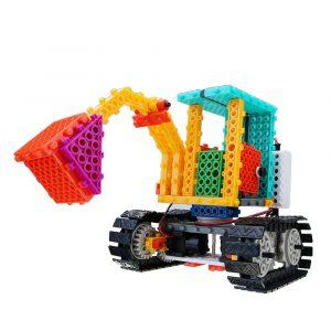 Elektrisk Blockgrävmaskin med 123st Blås Bygga Pedagogiska Tegelstenar Leksaker