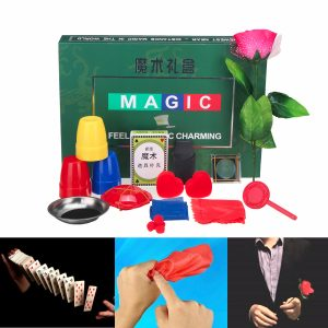 8 slags trickuppsättningar Magic Play med DVD-undervisning Professional Magic Tricks Stage Close Up Magic Leksaker