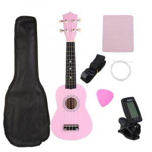21 tums ekonomisk sopran Ukulele Uke musikinstrument med gig bag Strings Tuner