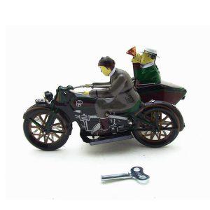 Motorcykel Med Passagerare I Sidebil Retro Clockwork Vind Upp Tennleksaker Med låda