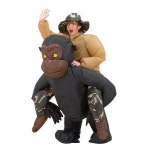 Uppblåsbara leksaker Kostym Vuxen kostym Blowup Orangutanger Ride Outfit Party Kläder Med Keps