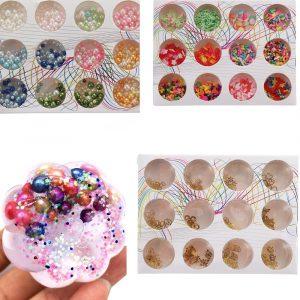 12st / Set Handmade Slime DIY Material Färgglada Pärlor Fruktskiva Mjuka Keramiska Granulat Pärlpulver