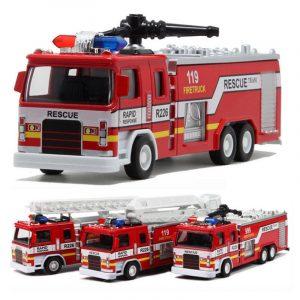 Alloy Construction Vehicles Pullback Fire Modell Truck Med Ljus Ljus För Barn Presentbutiker Leksaker