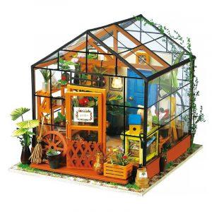Föreställ dig 3D DIY House Model Kit Greenhouse Miniatyr LED Light Dolls House Build Leksaker
