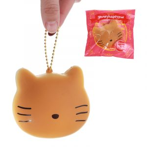 Meistoyland Squishy Cat Kitty Slow Rising Straps Squeeze Toy med kedjan