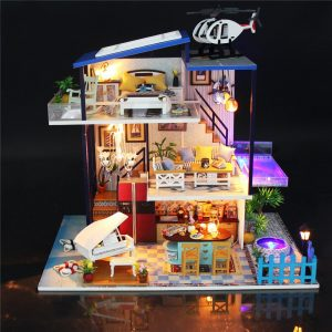 Hoomeda Handmake DIY Dockhus Villa Miniatyr Dockhus Model Cottage